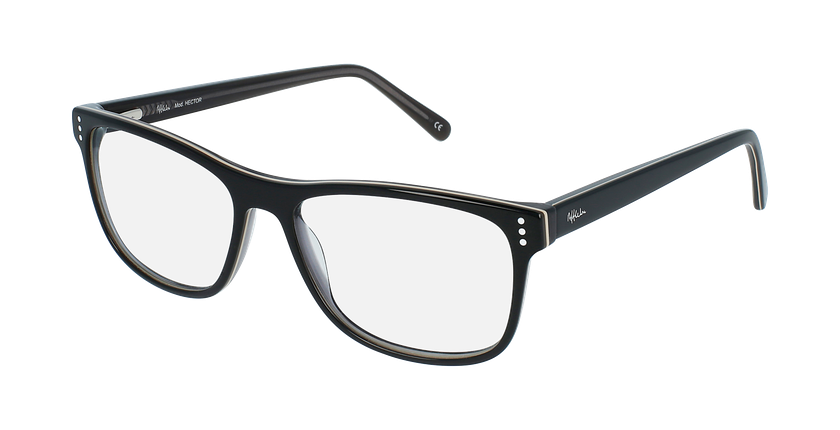 Gafas graduadas hombre HECTOR negro/gris - vue de 3/4