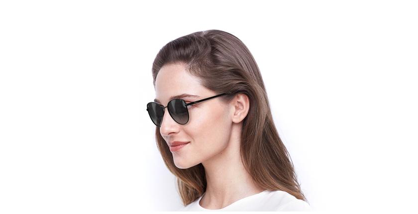 Gafas de sol mujer TEYA negro - vue de 3/4