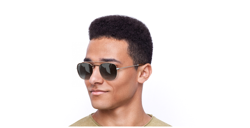 Gafas de sol hombre TOSSA marrón/blanco - vue de 3/4