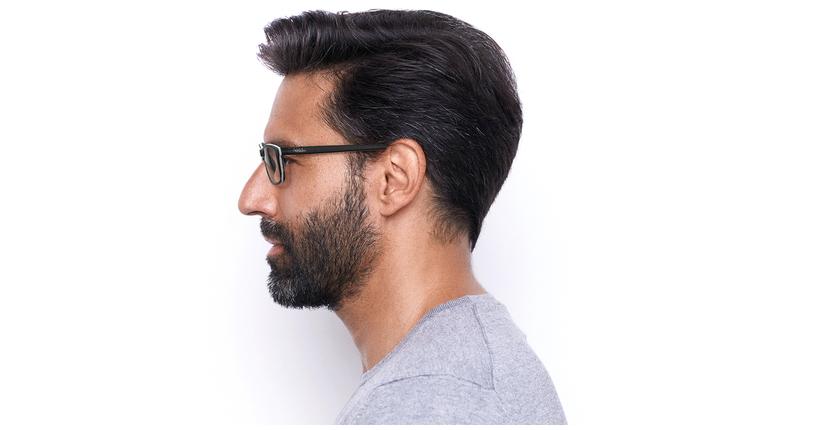 Gafas graduadas hombre LEON negro - vista de lado