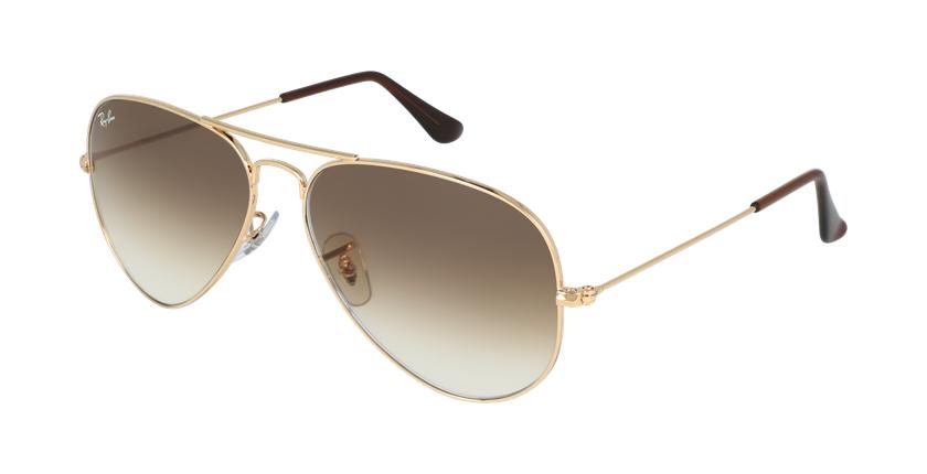 Gafas de sol AVIATOR LARGE METAL dorado/marrón - vue de 3/4