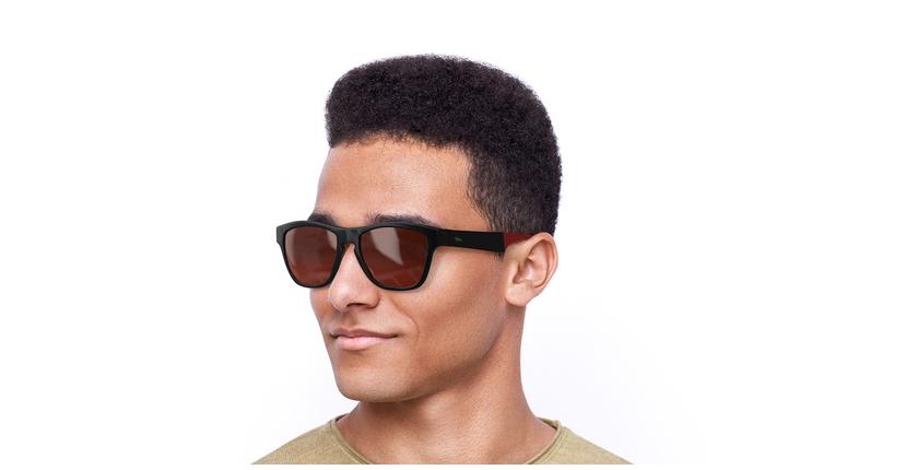Gafas de sol hombre GEANT negro/rojo - vue de 3/4