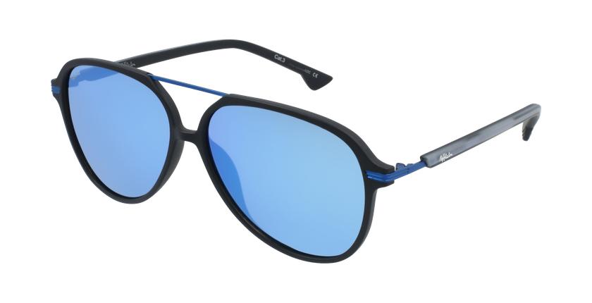 Gafas de sol hombre BASAURI negro/azul - vue de 3/4