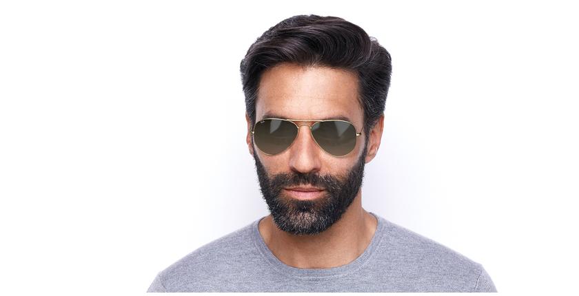 Gafas de sol AVIATOR LARGE METAL dorado/marrón - vista de frente