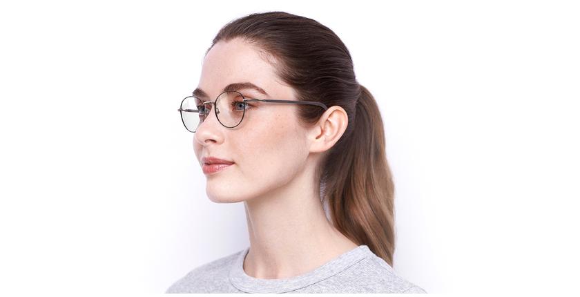 Gafas graduadas mujer NELIA negro/rosa - vue de 3/4