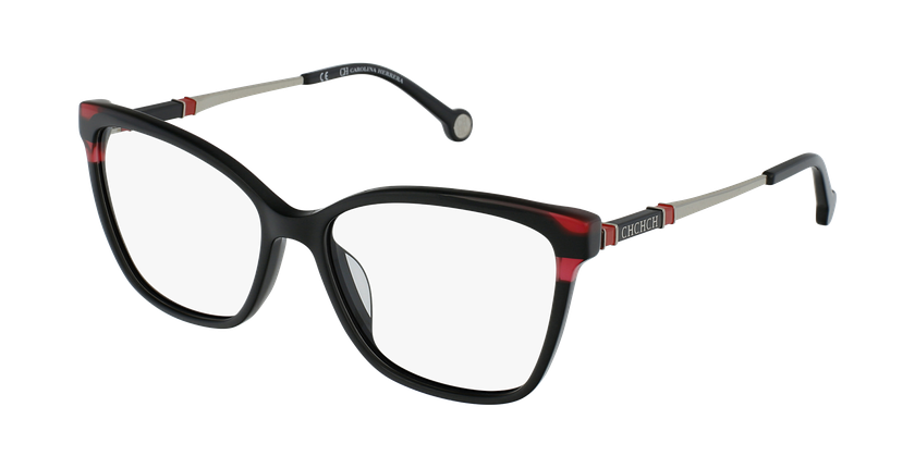 Gafas graduadas mujer VHE850 negro/rojo - vue de 3/4