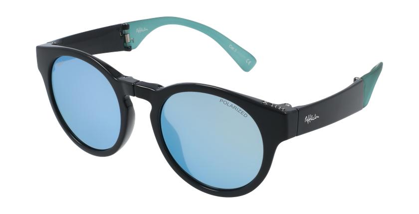 Gafas de sol mujer SLALOM negro/turquesa - vue de 3/4