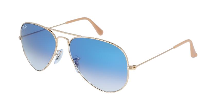 Gafas de sol AVIATOR LARGE METAL dorado/azul - vue de 3/4