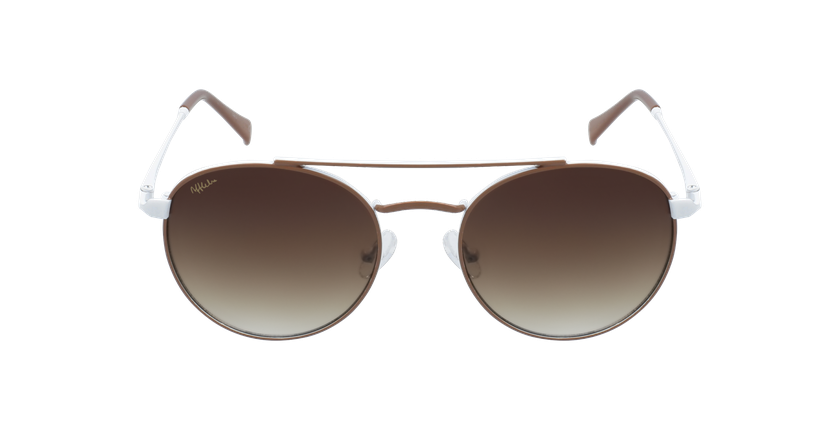 Gafas de sol niños SANTIAGO - NIÑOS marrón/blanco - vista de frente