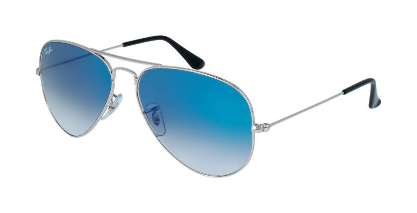 Gafas de sol AVIATOR LARGE METAL plateado/azul - vue de 3/4