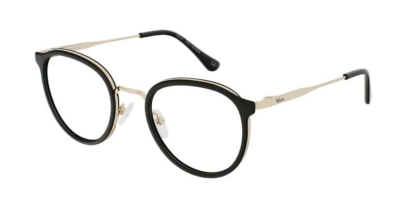 Gafas graduadas INDIANA negro/dorado - vue de 3/4