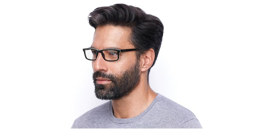 Gafas graduadas hombre LEON negro - vue de 3/4