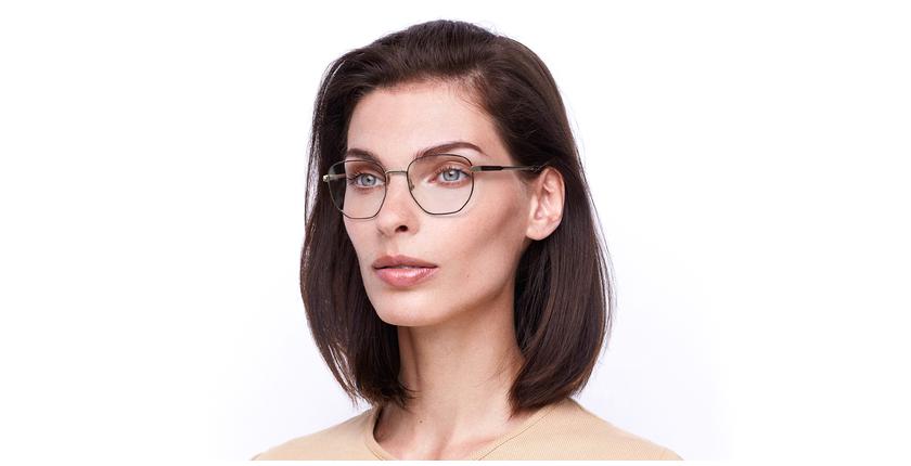 Gafas graduadas mujer ERIN rojo/dorado - vue de 3/4