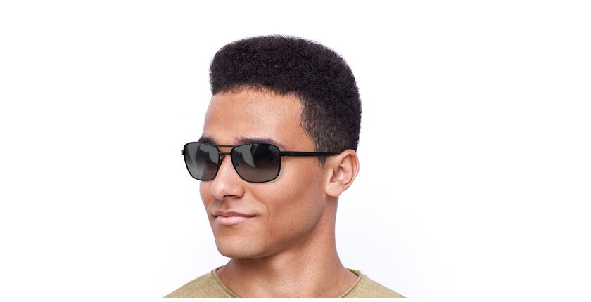 Gafas de sol hombre AMIR negro - vue de 3/4