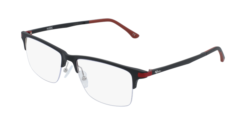 Gafas graduadas hombre MAGIC 56 BLUEBLOCK negro/rojo - vue de 3/4